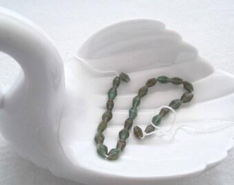 8 mm Czech Teal/Multi Stripe Bicone Beads (1479)