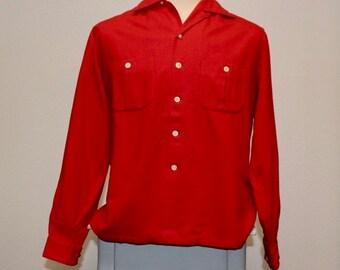 Vintage 1950s red wool button down Palmdayl shirt medium 381