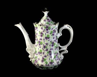 Lefton Coffee Pot, Violet Chintz, Gold Trim, 3 Cup, Teapot, Hot Chocolate Pot, Collectible, Fine China, Porcelain, Fine China