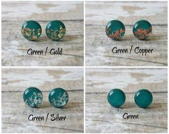 Dark green earrings, Glitter stud earrings green, Modern earrings studs, Christmas gift for aunt, Sparkly earrings, Green jewelry minimalist