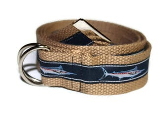 Adjustable Nautical Marlin Fishing Belt- Teens/Adults