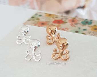 Octopus Earrings - Octopus Jewelry - Tentacle - Ocean - Silver - Gold - Stud Earrings - Christmas Gift - Sister Gift - Sister Jewelry - BFF