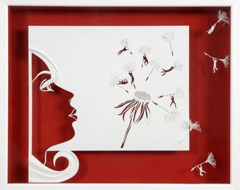 SOME FRESH AIR ! ...  - Paper cut and paper sculpture - photographic reproduction art card