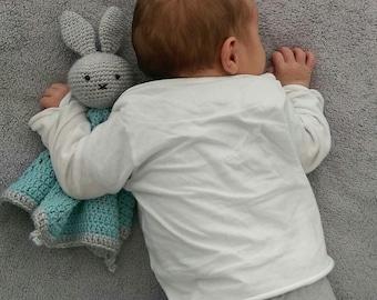 Crochet Cuddle cloth rabbit, tutteldoekje, crochet hug, lovey cloth, gift for baby, boy, Girl