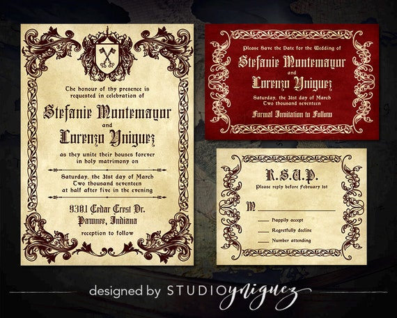 Medieval Wedding Invitation Wording: Medieval Wedding Printable Invitation Suite Renaissance