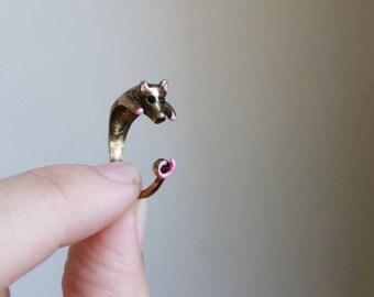 Pig ring, Custom Colored Animal Wrap ring,  Birthday Gift