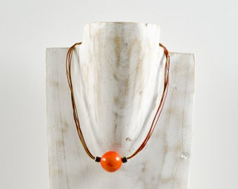 Necklace RINATA coral - jewelry / Tagua / vegetable ivory / natural / ethical / fair trade / woman / Ecuador