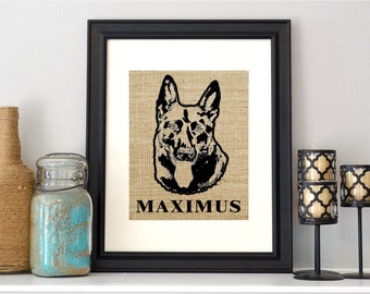 Custom Pet Photo Burlap Print - Personalized Dog photo on burlap