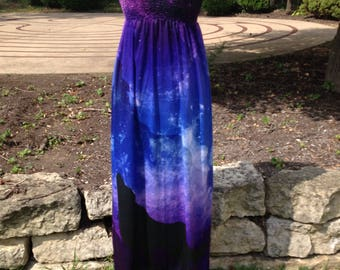 A Wolfs Shadow Lit by the Moon Long Indigo and Purple Maxi Dress