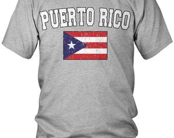 Puerto Rican Distressed Men's T-Shirt, PR Flag, Puerto Rico Pride, Men's Puerto Rico Soccer Shirts AMD_PUE_02