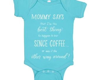 Baby Onesie Handlettered Mommy Loves Coffee Daddy Loves Coffee Calligraphy Funny Baby Onesie
