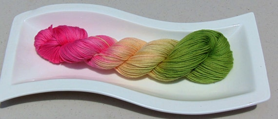 Pink Calla Lily- 100 Organic Cotton Hand Dyed Variegated Sport Weight Yarn