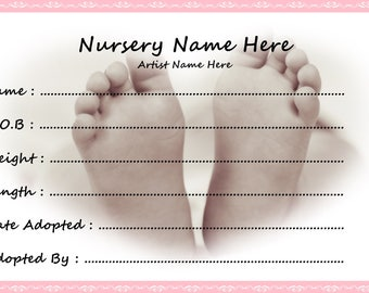 Personalised Reborn Doll Birth Certificates