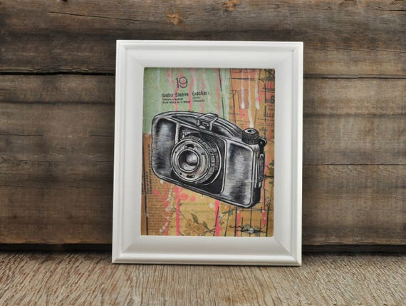 Boyer Camera Original Framed Painting by Cindy Labrecque, 8 x 10 inches.