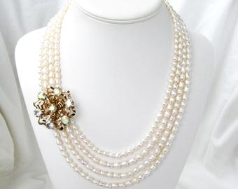 Gold and Pearl Bridal Necklace, Vintage Iridescent Rhinestone Flower Accent, Four Strand Freshwater White Pearl Necklace, Titania's Sister