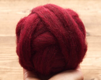 Wool Roving Supply for Needle Felting, Dark Red, Garnet, Wet Felting, Spinning, Dyed Felting Wool, Fiber Art Supplies