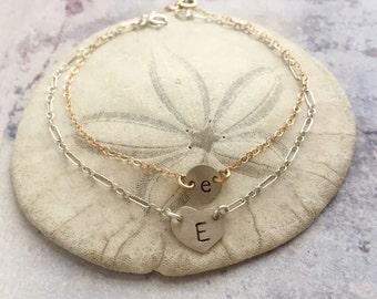 Initial bracelet, Monogram bracelet, personalized jewelry, letter necklace, number bracelet, custom name bracelet, gift for her