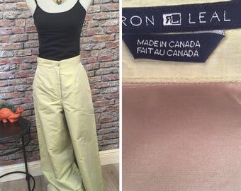 Vintage 1990s Raw Silk Spring Green Gaucho Pants  Size 8