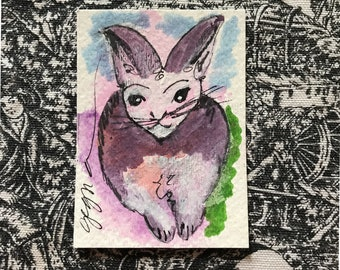 ART ACEO Abstract Rabbit