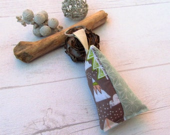 Tepee and trees, green bean Keychain key fob, asanoha green Keychain, bag charm Green Brown and pink