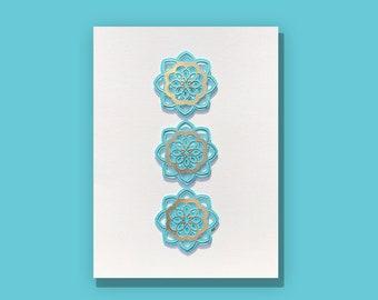 blue and gold mandala metalic gold paper cut art