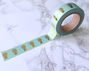 Mint & Gold Foil Pineapple Washi Tape // Decorative Paper Masking Drafter Planner Scrapbooking Tape