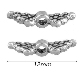 10pcs-2 sided-12mm Angel Wing metal spacer beads- antique silver tone spacer