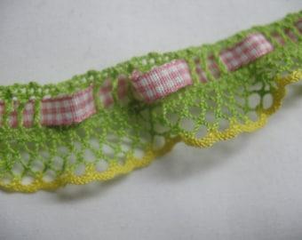 2 Yard STRETCHY  CROCHET  LACE and plaid ribbon insert