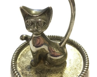 Silver Plated Cat Ring Holder, Kitty Jewelry Holder, Cat Jewelry Holder,