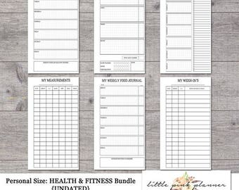 Personal Size Undated HEALTH AND FITNESS Bundle- Inserts for Filofax and Kikki K Style Planners