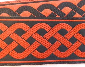 """Jacquard Ribbon   Jacquard Trim 2"""" Woven Jacquard Ribbon Trim Tape   Red~Black Celtic knot pattern~reversible"""