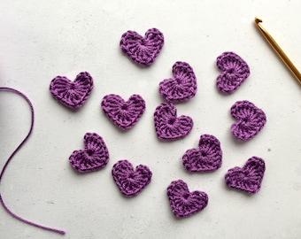 Purple Crochet hearts - Crochet flowers - Crochet applique hearts - Crochet appliqué flowers - Scrapbooking hearts