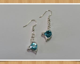 Dangle Rhinestone Heart Earrings