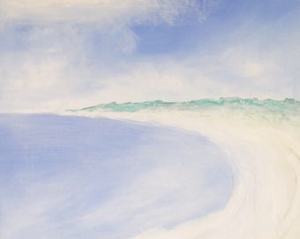 Empty Beach 1  Seascape Ocean Beach Landscape abstract expressionism unique painting on wooden panel   Christopher Minot