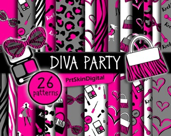 Diva Party Water Bottle Label Pink Labels Pink Birthday