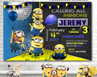 Minion invitation Etsy