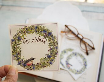 spring wreath bookplates - robin book plates - Ex Libris - floral bookplate stickers - bird bookplate - bookworm for her - custom book plate