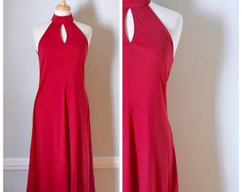 70s Dress / Vintage 70s Dress / Vintage Dress / 70s Halter Dress / Jersey Dress / Red Dress / Red Jersey Dress / Sexy 70s Dress / Size Small