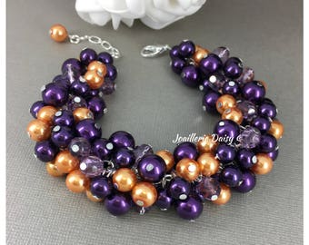Dark Purple and Orange Bracelet Bridesmaids Gift Pearl Bracelet Wedding Jewelry Gift for Her Bridesmaids Jewelry Fall Wedding Halloween