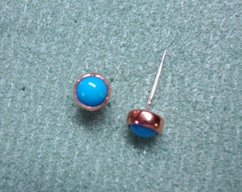 Post earrings -Simulated Sleeping Beauty Blue Turquoise - copper bezel cups on eco friendly recycled sterling silver posts & clutches - 5mm