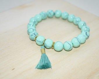 Turquoise Tassel Beaded Bracelet
