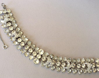 Eisenberg 1950s Sparkling Three Tier Clear Rhinestone Bracelet
