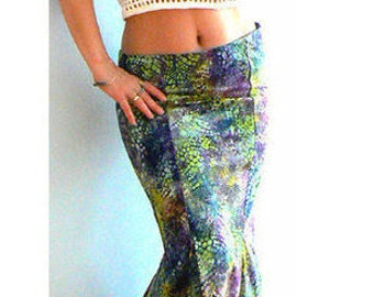 Green mermaid maxi skirt- Watercolor print skirt -Occasions, evening, party, homecoming sexy skirt- Size 6-fashion fitted women cotton skirt