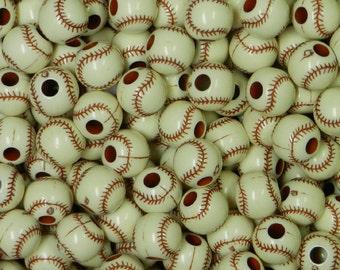 BASEBALL BEADS, Antique white, for Jewelry, I Spy Trinkets, Sports beads, 12mm beads, Acrylic beads, Baseball trinkets, Bulk baseball beads