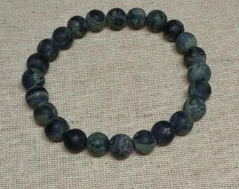 Frosted Rhyolite Jasper Stone Bracelet, Meditation, Stackable, Stretch Bracelet, Boho, Natural Stone