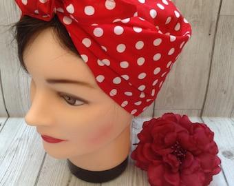 Vintage style retro handmade red polka dot headscarf, land girl WW2 forties, Rosie the riveter, rockabilly head scarf