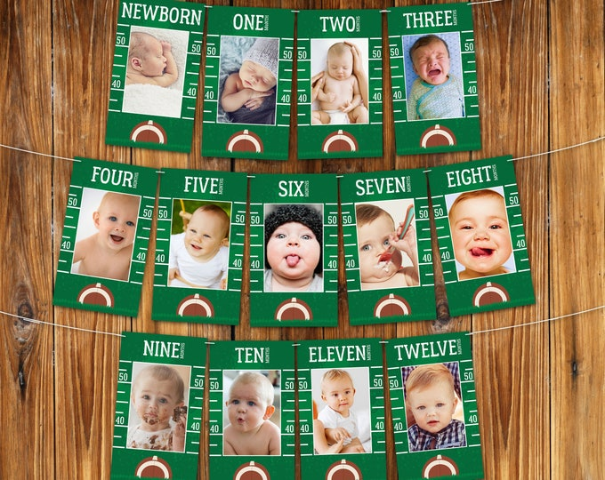 Football First Year Photo Banner - 12 Month Photo Banner, Football 1st Birthday, Football Party | INSTANT Download DIY Printable PDFs