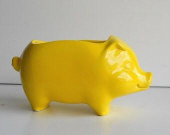 60s Pig Planter, Ceramic, Mini Desk Pig Vintage Design in Lemon Yellow Sponge Holder, Retro Home, Succulent Planter Gift