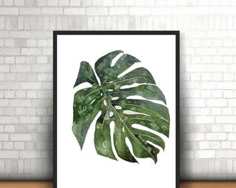 Monstera Tropical Leaf Fine Art Digital Download | 300dpi JPG