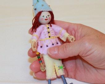 Handmade Felt Doll, Hanging Ornament Playing in the Garden Felt Folk